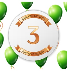 Golden number three years anniversary celebration vector