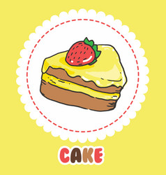 Piece of cake with strawberry and pink yellow vector