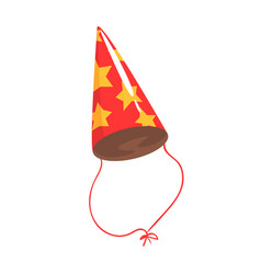 Birthday party hat with yellow stars celebration vector