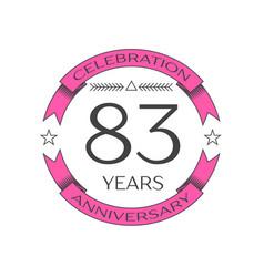 Eighty three years anniversary celebration logo vector