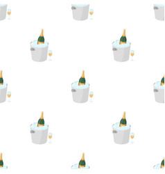 Champagne bottle in an ice bucket icon in cartoon vector