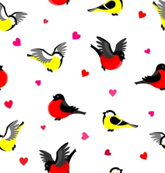 Bullfinches and tits pattern vector