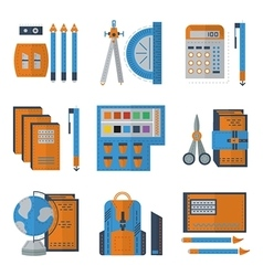 Stationery flat color icons vector