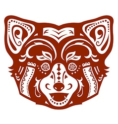 Ethnic ornamented red panda vector