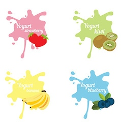 Yogurt splash set vector