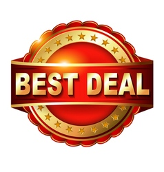Best deal guarantee golden label with ribbon vector
