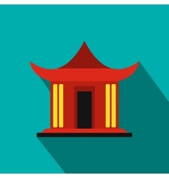 Traditional chinese house icon flat style vector