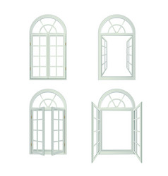 Arched windows realistic set vector