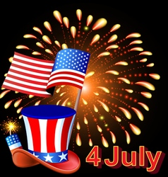 Card independence day with fireworks hat vector