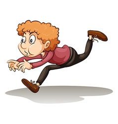 A young man in a hurry vector