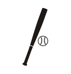Baseball bat and ball monochrome icon vector