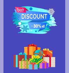 Best discount advert text written on promo label vector