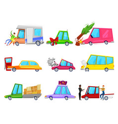 cartoon car accident comic minicar and vector image vector image