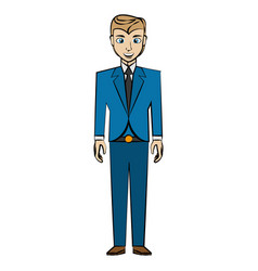 Cartoon man business suit posture vector
