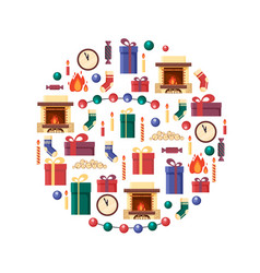christmas elements in circle gifts clock candle vector image