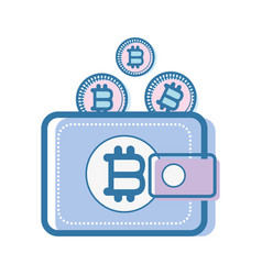 Color wallet icon with bitcoin currency vector