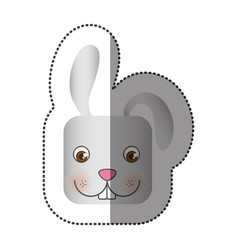 Colorful face sticker of rabbit in square shape vector