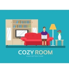 Cozy house in flat design background concept the vector