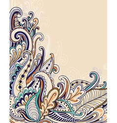 Decorative abstract hand drawn floral background vector image
