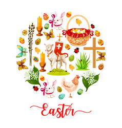 Easter round poster with holiday symbols vector
