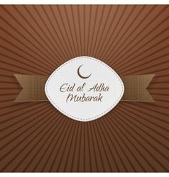 Eid al-adha mubarak badge with ribbon vector
