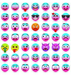 face emotionspink and blue smileys 2018 vector image vector image