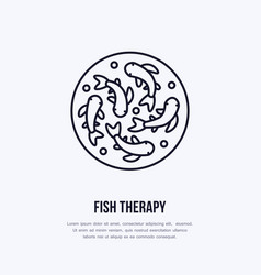 Fish therapy line icon spa peeling service vector