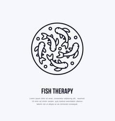 Fish therapy line icon spa peeling service vector