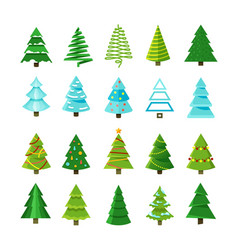 Flat christmas winter trees with festive xmas vector