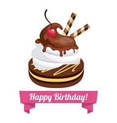 happy birthday sweet dessert celebration vector image vector image