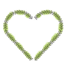 heart love with leafs romantic icon vector image vector image