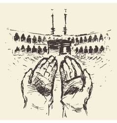 Holy kaaba mecca saudi arabia praying hands drawn vector