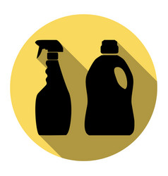 Household chemical bottles sign flat vector