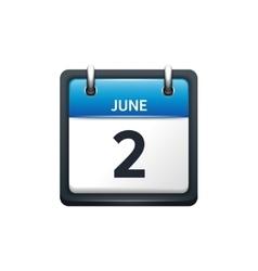 June 2 Calendar icon flat vector image vector image