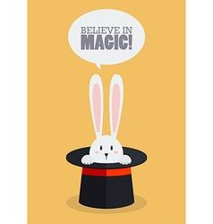 Magic top hat with rabbit vector