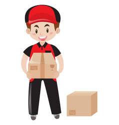 Mailman delivering two packages vector