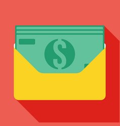 Money in an envelope icon vector
