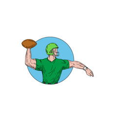 Quarterback qb throwing ball circle drawing vector