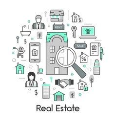 Real Estate Thin Line Icons Set with Agent vector image