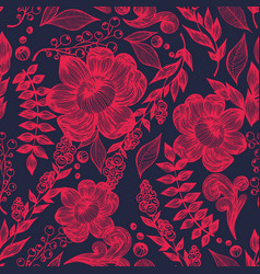 red flowers on a dark background hand drawing vector image vector image