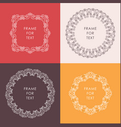Set of elegant white frame in trendy outline style vector