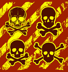 set of skulls with crossbones vector image vector image