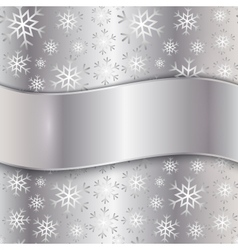 Silver Plate with snowflakes vector image