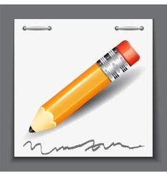 Small pencil on the paper sheet background vector image