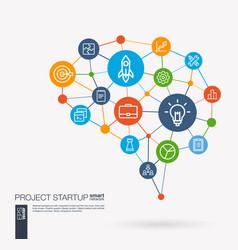 startup web development light bulb rocket vector image