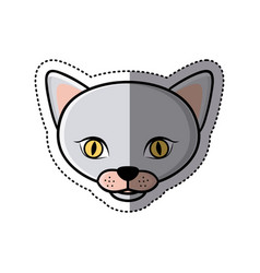 Sticker grey shading picture face cute cat animal vector