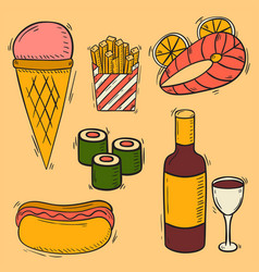 Sweet fast food hand drawn restaurant vector