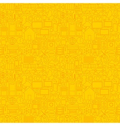 Thin smart house line seamless yellow pattern vector