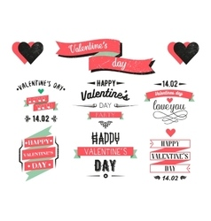 Valentines day lettering cards Labels and logo vector image