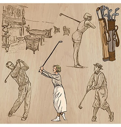 Vintage golf and golfers - hand drawn freehands vector